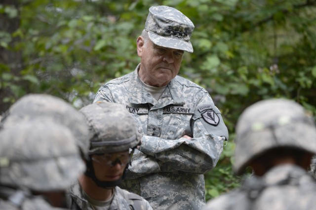 VMI superintendent Gen. (Ret.) J.H. Binford Peay III observes Army ROTC cadets at the Leader Development Assessment Course June 24.