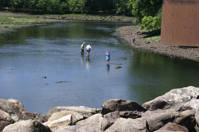Visitors fish in the steam below Tenkiller Dam. During the summer of 2011 drought, low dissolved oxygen levels and high water temperatures resulted in a fish kill below the dam