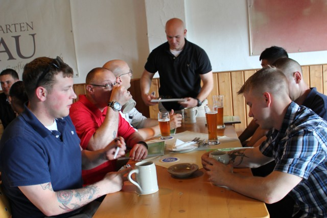 German locals and American Soldiers enjoy food and drink at the German-American Friendship Week event June 13 between the city of Bamberg and U.S. Army Garrison Bamberg.