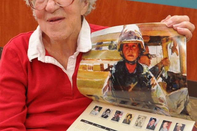 Joan De Munbrun holds the National Museum of the United States Army annual calendar. In 2011, she was featured in the calendar. De Munbrun, a former Army WAC, now lives at the Veterans Home of Chula Vista, Calif.
