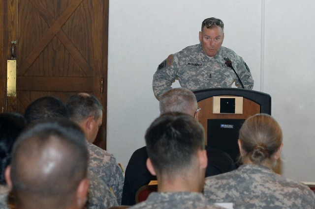 Maj. Gen. Mark McDonald, Fires Center of Excellence and Fort Sill commanding general, speaks to commanders and leaders during a commander's call June 14 here. The briefing was held to address the issues of sexual assault and sexual harassment in the military prior to the Armywide SHARP (Sexual Harassment/Assault Response and Prevention) Stand-Down, June 25.