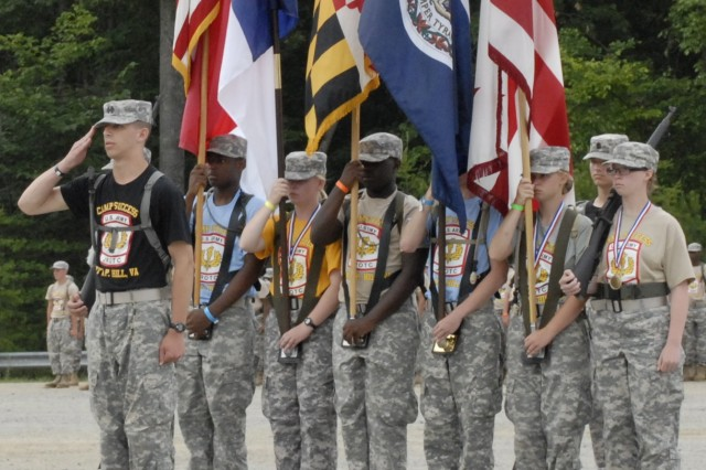 JROTC Honor Guard opens the 13th Annual Camp Success graduation ceremony on Thursday morning, June 27 on U.S. Army Garrison Fort A.P. Hill.