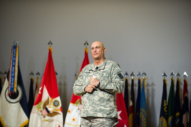 Army Chief of Staff Gen. Ray Odierno listens to questions from Soldiers during a town hall meeting at Joint Base Lewis-McChord, Wash., June 26, 2013.