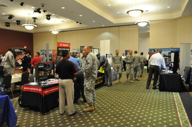 Service members, retired service members, and their family members looking for a smooth takeoff into the civilian job market took part in a CivilianJobs.com job fair, sponsored by the Fort Campbell, Ky., Army Career and Alumni Program office, June 26, 2013.