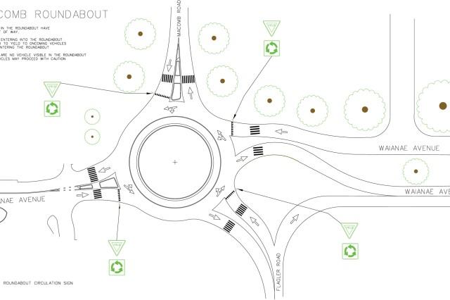 traffic roundabout makes unofficial debut july 4 near schofield barracks u0026 39  macomb gate