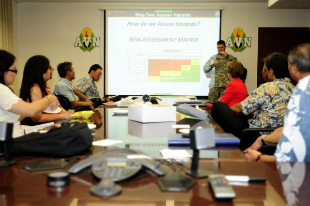 Chief Warrant Officer 5 Matt Fitter, 25th Combat Aviation Brigade Safety Officer, briefs medical officials from Queens Medical Center about the Army's risk management process for its pilots during a visit to the 25th CAB, 25th Infantry Division on Wheeler Army Airfield, Hawaii, June 12.