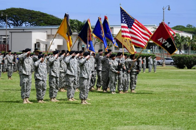 Col. Kenneth Hawley took command of the 25th Combat Aviation Brigade from Col. Frank Tate during the 25 CAB change of command ceremony on Schofield Barracks, Hawaii, April 30.