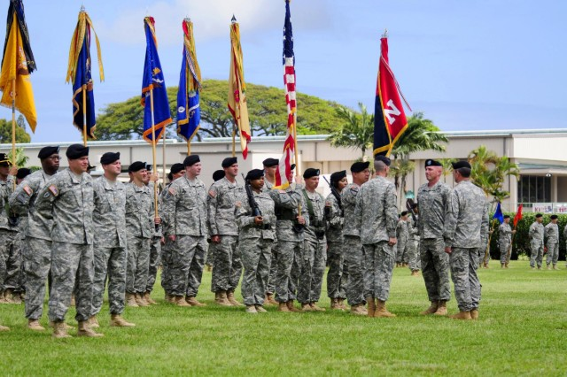 Col. Frank Tate, outgoing commander the 25th Combat Aviation Brigade, transferred his command and responsibility of the CAB to Col. Kenneth Hawley, incoming 25th CAB commander, during the 25th CAB change of command ceremony on Schofield Barracks, Hawaii, April 30.
