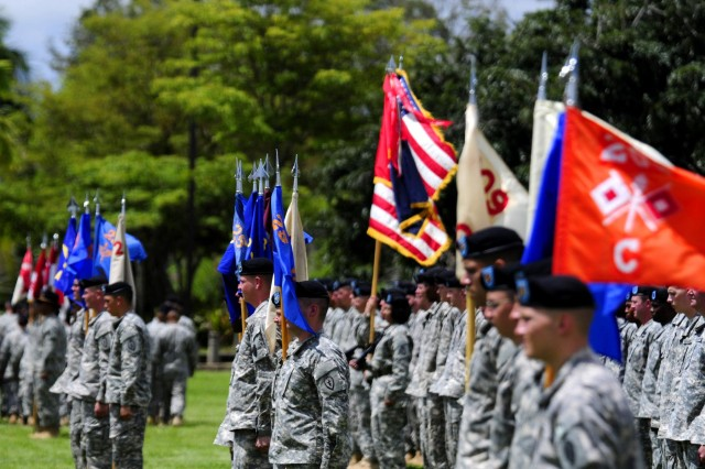 Col. Kenneth Hawley took command of the 25th Combat Aviation Brigade from Col. Frank Tate during the 25th CAB change of command ceremony on Schofield Barracks, Hawaii, April 30.