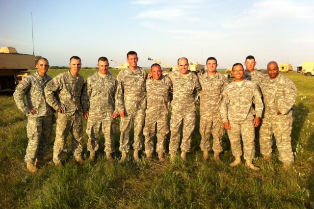 Members of 2nd Platoon, led by 1st Lt. Kenneth Vilaysone and under the direction of Capt. William Ivins, Battery A, 1st Bn., 5th FA Regt., participated in a joint exercise from June 11-20 at the Smoky Hill Air National Guard Range in Salina, Kan. The firing platoon and fire direction center coordinated with Air Force joint terminal attack controllers for the delivery of fires in support of a joint mission.
