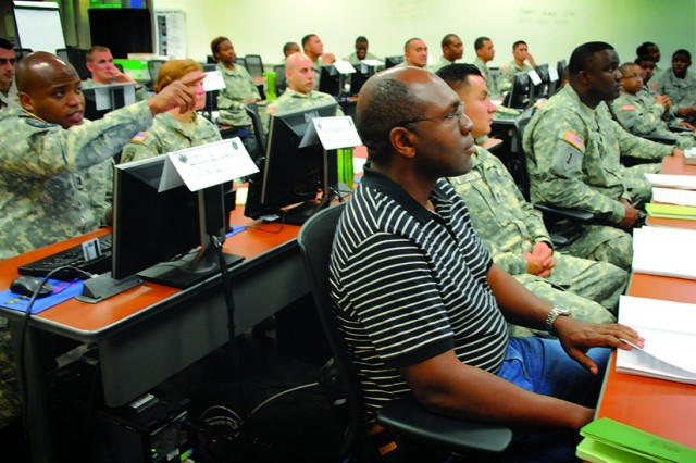 A DA civilian trains with Army Logistics University cadre on course instruction at Fort Lee, Va.
