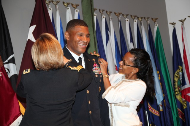 Col. Patrick D. Sargent was recently promoted to the rank of Brigadier General replacing Brig. Gen. Cho as the Deputy Chief of Staff for Operations, U.S. Army Medical Command. Pictured from left to right are - Lt. Gen. Patricia Horoho, Brig. Gen. Patrick Sargent and Sherry Sargent. (Courtesy photo)