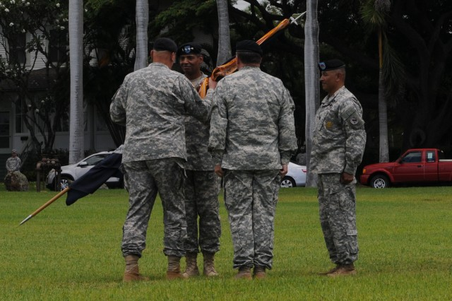 Gen. Vincent K. Brooks assumes command of U.S. Army, Pacific from Lt. Gen. Francis J. Wiercinski during a change-of-command and Flying V ceremony, July 2, 2013, at Palm Circle on Fort Shafter, Hawaii.  Pictured here, U.S. Army, Chief of Staff Gen. Raymond Odierno passes the guidon to Brooks, symbolizing the official passage of command.