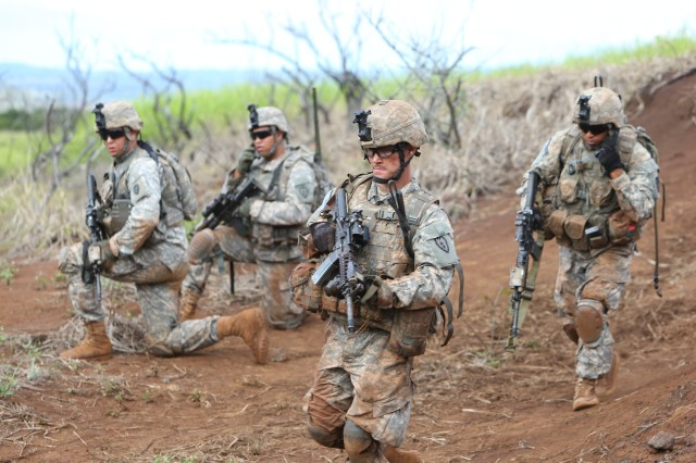 Soldiers of the 3rd Brigade Combat Team, 25th Infantry Division, participate in a training exercise May 8, 2013, at Schofield Barracks, Hawaii. The exercise targeted critical thinking and tactical skills.