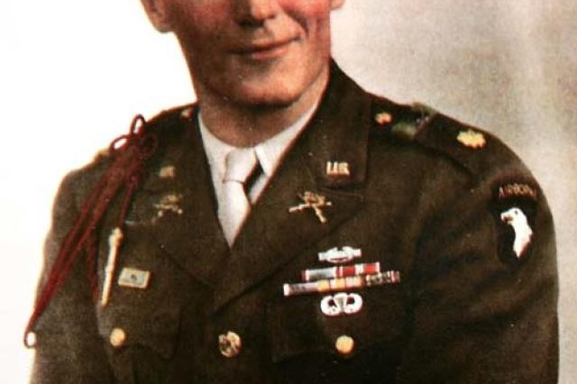 "Major Richard ""Dick"" Winters, when he was a captain, led Currahee Soldiers of Easy Company, 2nd Battalion, 506th Parachute Infantry Regiment, 101st Airborne Division, during the invasion of Normandy, Operation Market Garden and the siege of Bastogne."