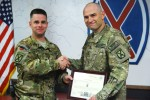 Soldier on fifth deployment receives top enlisted rank, Family watches promotion from Fort Drum