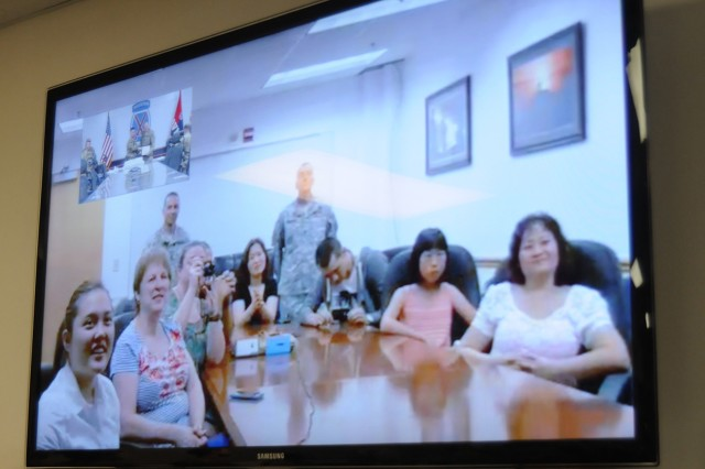 The Family of newly promoted Sgt. Maj. John Kolodgy was able to witness his promotion via video teleconference from Fort Drum. Earlier the same day, Kolodgy awoke at 3 a.m. and was able to watch his daughter, Beth, graduate from Indian River Central High School.