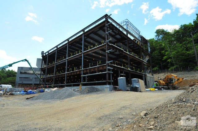 The U.S. Army Corps of Engineers, New York District is building a new addition to the Keller Army Community Hospital at the U.S. Military Academy at West Point, N.Y., that will provide outpatient medical services for its Cadets. Pictured here, progress is being made on the clinic addition project, with the existing hospital in the background.