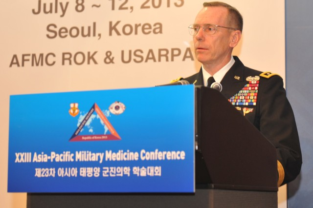 Eighth Army Commanding General Lt. Gen. Bernard S. Champoux thanks military medical leaders from 21 nations at the Asia Pacific Military Medicine Conference in Seoul, South Korea, July 8, 2013.