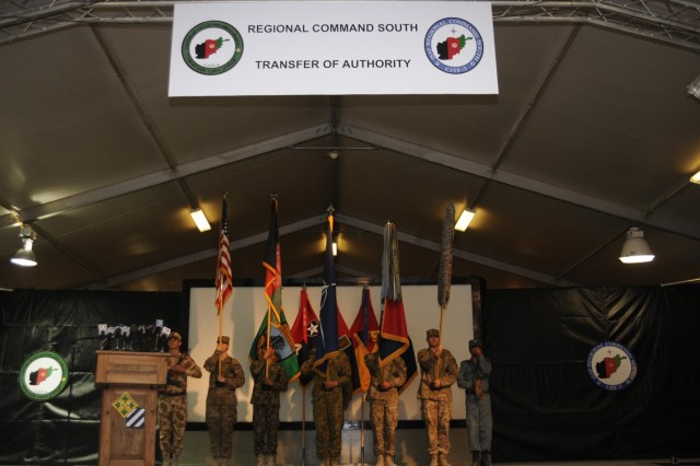 Regional Command (South) held a Transfer of Authority Ceremony at Kandahar Airfield, Afghanistan, July 8, 2013. The 4th Infantry Division assumed command of the region from the 3rd Infantry Division during the ceremony.