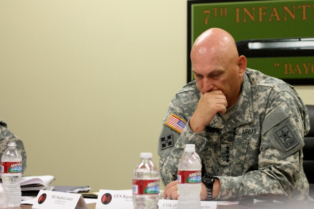 Gen. Raymond T. Odierno, chief of staff of the Army, met with Maj. Gen. Stephen R. Lanza, 7th Infantry Division commanding general, June 26, at the division headquarters on Lewis North, Joint Base Lewis McChord, Wash. Lanza and his brigade commanders from each of the seven brigades under his command briefed Odierno leader development, resiliency, training readiness and sustainment programs and initiatives.