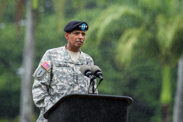 U.S. Army Gen. Vincent Brooks gives his remarks as the incoming commanding General of U.S. Army Pacific during a change of command ceremony in Fort Shafter, Hi. July 2, 2013. (U.S. Army photo by Staff Sgt. Teddy Wade/ Released)