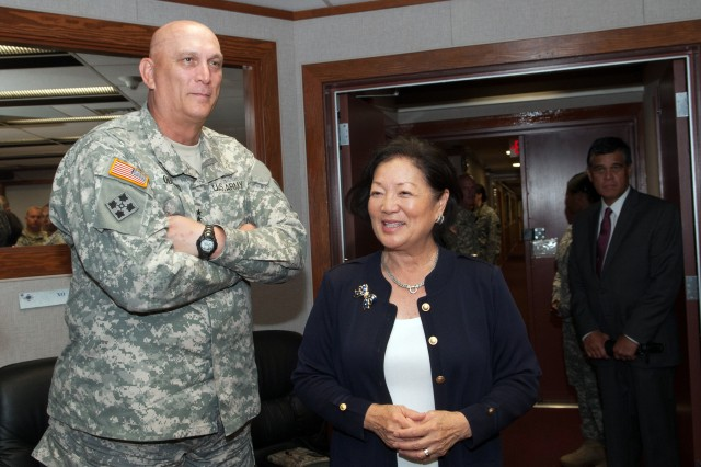Senator Mazie Hirono meets Army Chief of Staff Gen. Ray Odierno at the U.S. Army Pacific headquarters in Fort Shafter, Hi. July 2, 2013. (U.S. Army photo by Staff Sgt. Teddy Wade/ Released)