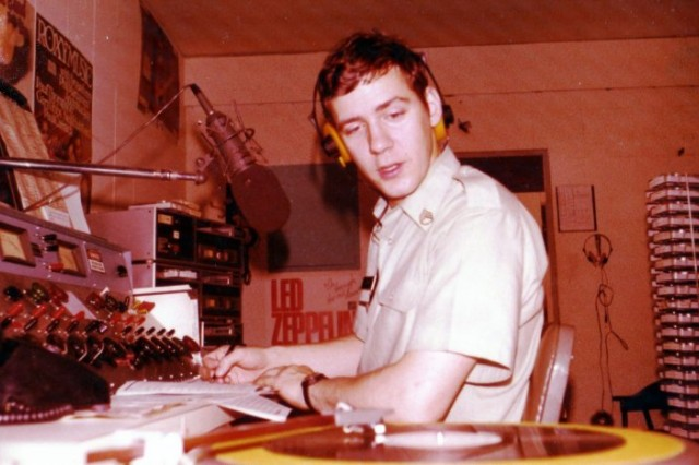 Then-Army Staff Sgt. George A. Smith hosts his morning DJ show from Armed Forces Network-Nuremberg, Germany, in 1979. The station later moved to Rose Barracks in Vilseck, Germany, and is now known as AFN Bavaria.
