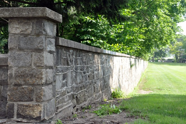 Watervliet Arsenal, N.Y., once relied on the Erie Canal to provide power to its machines.  Parts of the old canal, such as this west wall, are still found on the arsenal today.  The canal was filled in during the 1930s.