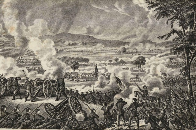 These two graphic depictions from the Battle of Gettysburg come from the Army Heritage and Education Center's collection of the Military Order of the Loyal Legion of the United States (MOLLUS), Massachusetts Commandary.  Illustrations courtesy of the Army War College, Carlisle, Pa.