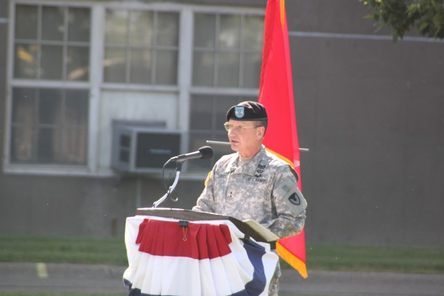 Maj. Gen. Michael J. Terry, commanding general TACOM Life Cycle Management Command speaks at the Rock Island Arsenal Joint Manufacturing and Technology Center Change of Command Ceremony.