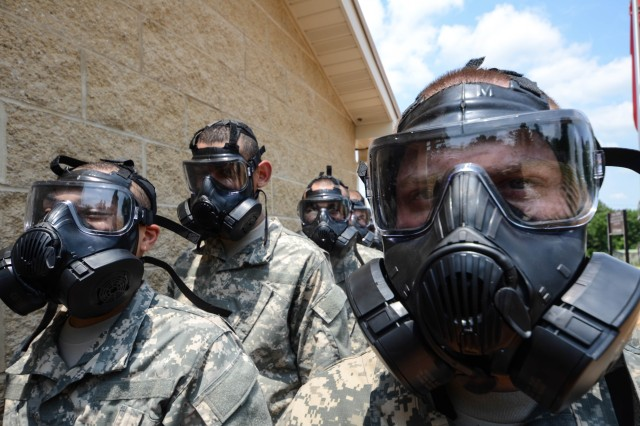 Basic Combat Training Soldiers Go Through Gas Chamber