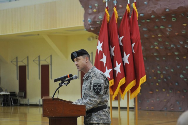 Brig. Gen. Erik Peterson, the 2nd Infantry Division's new deputy commanding general for support, speaks to the crowd during a ceremony July 16 at Camp Humphreys. Peterson previously served at Camp Humphreys as a helicopter pilot in 1987 during his first assignment in the Army.