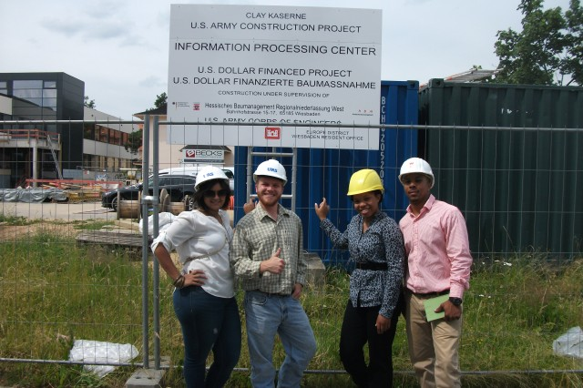 Advancing Minorities' Interest in Engineering, or AMIE, interns pause for a photo during a tour of U.S. Army Corps of Engineers Europe District's Cyber Center Europe construction project in Wiesbaden, Germany.
