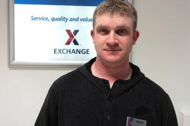 Sgt. Richard Cheeseman works at The Grafenwoehr Exchange as part of the Wounded Warrior Intern Program.