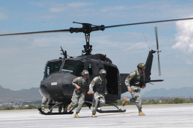 Soldiers participate in Air Assault School training at Biggs Army Airfield, Fort Bliss, Texas, recently. The bunker where low-level radiological contamination was found is located near the airfield.