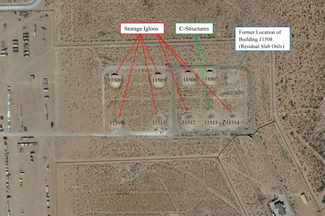 """Low levels of alpha and beta radiological particles were detected in a weapons storage bunker, July 12, 2013, near Biggs Army Airfield at Fort Bliss, Texas, in an area called the """"Snake Pit,"""" said an installation spokesman."""