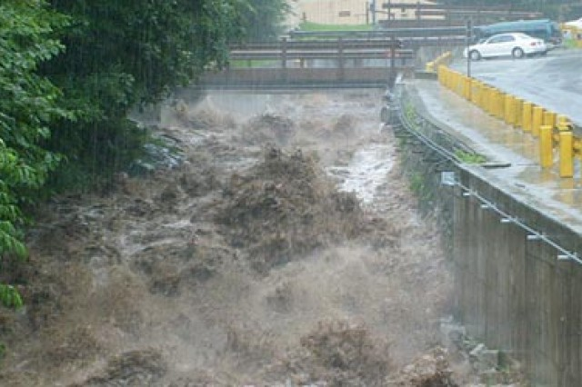 """Flooding during the Monsoon season in Korea. Photo by Gary Yance, USAG-Yongsan, Directorate of Public Works"""