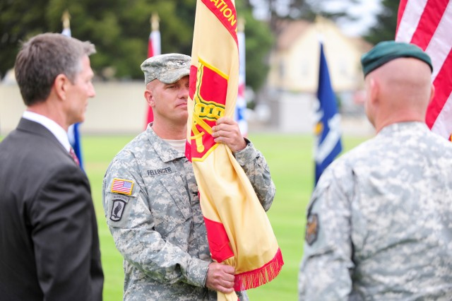 PRESIDIO OF MONTEREY, Calif. - Col. Paul W. Fellinger Jr. assumes command of United States Army Garrison, Presidio of Monterey during a change-of-command ceremony July 10.