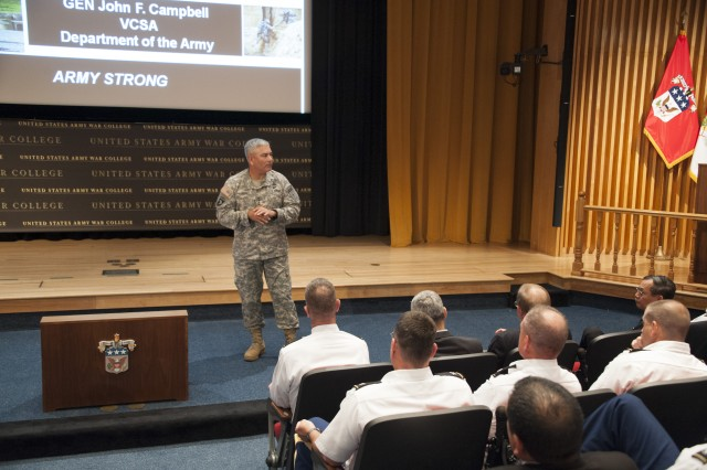 Vice Chief of Staff Gen. John Campbell meets with the Army War College Distance Class of 2013 where he discussed the challenges of sequestration, the current force structure, and the role of Reserve Component forces.