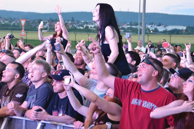 Wiesbaden military community fans enjoy the free Korn concert on Clay Kaserne on July 4.