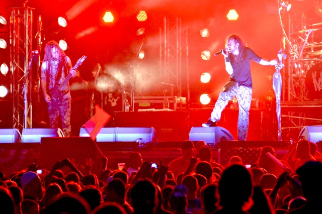 """Brian """"Head"""" Welch (left) and Jonathan Davis of the band Korn rock the crowd on Clay Kaserne July 4."""
