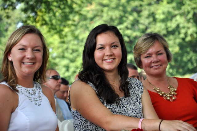Migaleddi family during the ceremony. From left, daughters Kristina and Kayleigh, and wife, Barbara.