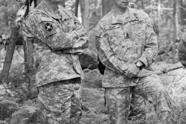 Maj. Gen. Dean Sienko, USAPHC commander, and Gerald C. Ecker, USAPHC inaugural command sergeant major, observe field conditions for the Best Warrior Competition at USAPHC. During Ecker's tenure, he elevated the challenges of the command's Best Warrior Competition, focused Soldiers on the medical aspects of combat soldiering, and stimulated thought through essay competitions.