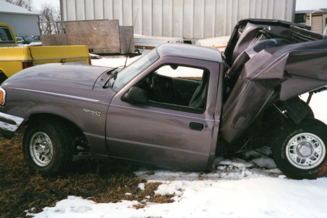 This was what remained of a pickup truck hit from behind by a drunk driver. The driver of this truck, Lori Newman, walked away unharmed because she was wearing her seat belt.
