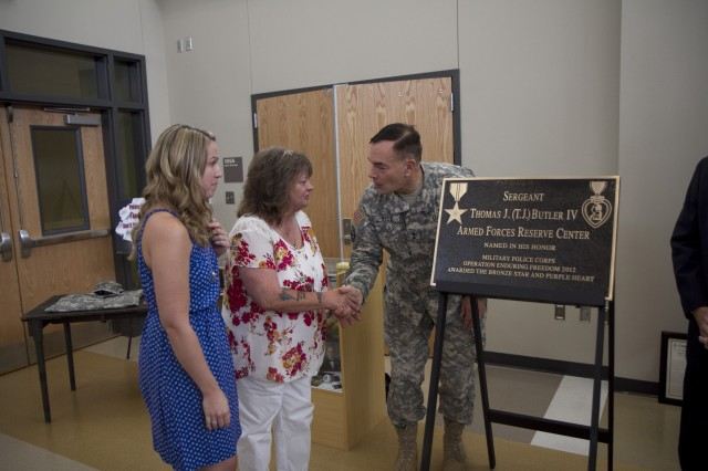 """Say my baby's name"" Wilmington Armed Forces Reserve Center memorialized in honor of local Soldier"