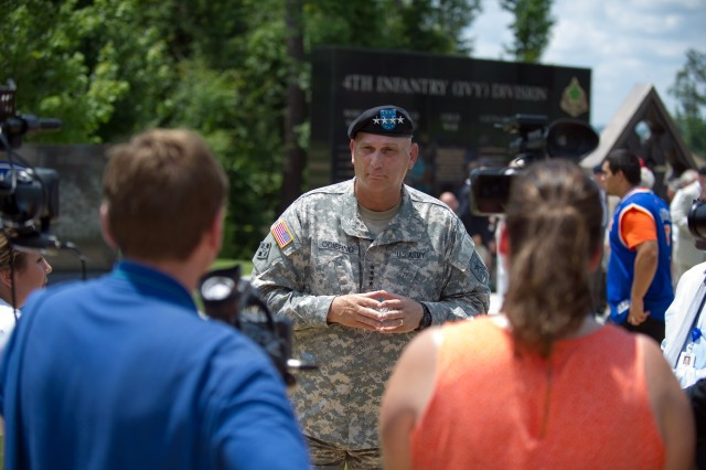 U.S. Army Chief of Staff Gen. Ray Odierno talks to the media after the 4th Infantry Division monument dedication in Fort Benning, Ga. July 18, 2013. (U.S. Army photo by Staff Sgt. Teddy Wade/ Released)