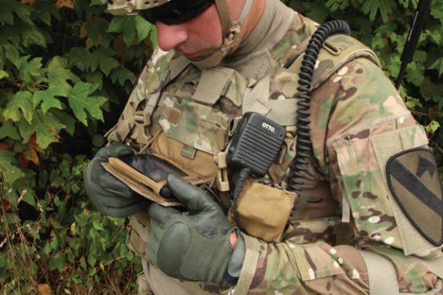 """In line with the Army's focus on the tactical network, PEO Soldier has advanced development on the Nett Warrior system. Most recently, PEO Soldier has included a Samsung Galaxy Note II smart phone as the chest-mounted """"end-user device"""" that serves as the centerpiece of the system. Nett Warrior gives Soldiers from team leader upwards situational awareness on the battlefield."""