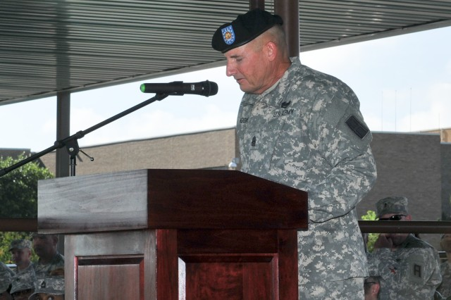 Command Sgt. Maj. James Higgins, 479th Field Artillery Brigade command sergeant major, speaks during a change of responsibility ceremony on Cameron Field at Fort Hood, Texas, July. 18.  Higgins assumed responsibility of the 479th from Command Sgt. Maj. Steven Brown. (Photo by Staff Sgt. Neal Bonham, 479th Field Artillery Brigade, Division West Public Affairs)