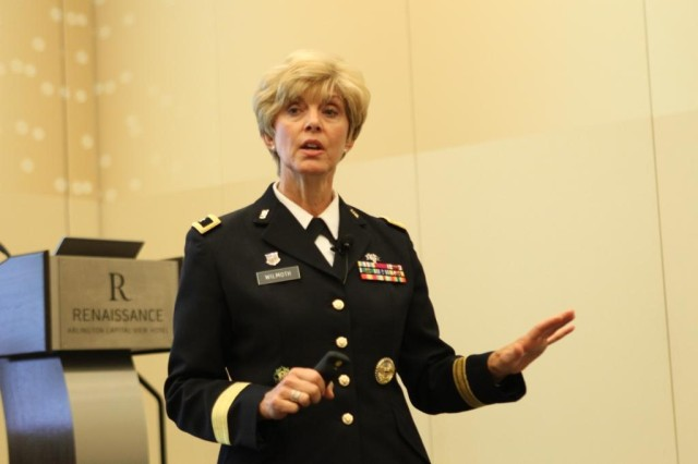 Army Reserve Brig. Gen. Margaret Wilmoth speaks to the American Mental Health Counselors Association during their annual conference, July 20, 2013, in Arlington, Va.